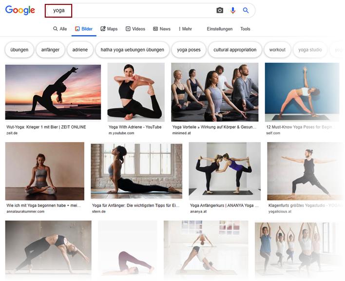 Google Bildersuche nach Yoga